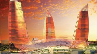 Futuristic architecture design buildings flame azerbaijan baku towers wallpaper