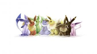 Games flareon eevee vaporeon jolteon eeveelutions leafeon wallpaper