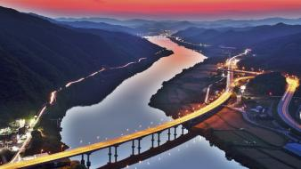 Hills bridges roads city lights rivers cities Wallpaper