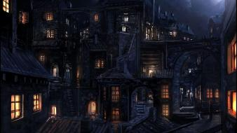 Houses fantasy art digital artwork medieval portuguese wallpaper