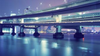 Japan tokyo cityscapes city lights rainbow bridge wallpaper