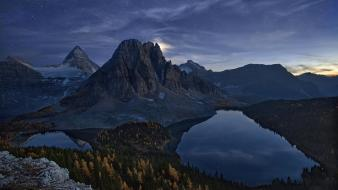 Lakes starry night moon light snowy peaks wallpaper