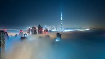 Landscapes cityscapes night fog mist dubai cities uae wallpaper