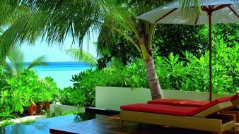 Maldives chairs palm trees resort vegetation tropics wallpaper