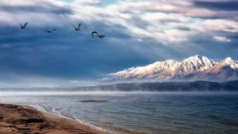 Mountains landscapes nature lakes snowy peaks beach wallpaper
