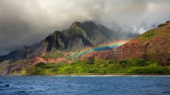 Mountains ocean clouds landscapes nature tropical rainbows wallpaper