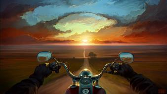 Multicolor artwork motorbikes riding skies custom bike wallpaper