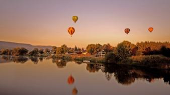 Nature hot air balloons lakes reflections washington wallpaper
