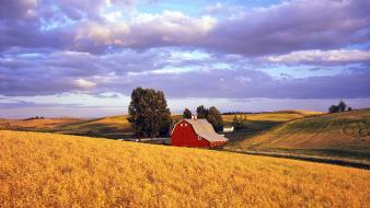 Nature red barn washington wallpaper