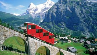 Nature switzerland alps railway wallpaper