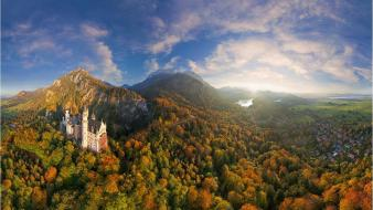 Nature trees forests panorama lakes neuschwanstein castle wallpaper