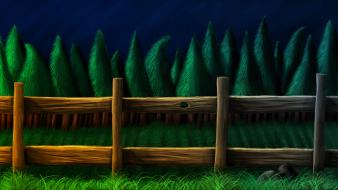 Nature trees night fences forests grass lemmino Wallpaper