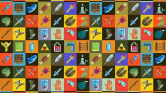 Objects boomerang squares potion swords retro symbols wallpaper