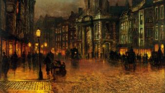 Paintings cityscapes streets street lights john atkinson grimshaw Wallpaper