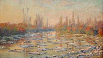 Paintings ice rivers seine claude monet impressionism wallpaper