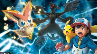 Pokemon pikachu ash ketchum zekrom victini wallpaper