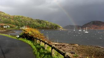 Rainbows scotland roads overcast lakes hdr photography wallpaper