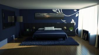 Room interior furniture bedroom design wallpaper