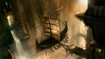 Ships fantasy art harbours wallpaper
