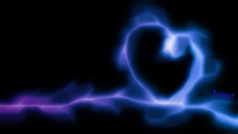 Smoke violet hearts neon lights background colors wallpaper
