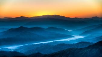 Sunrise blue mountains landscapes nature valleys fog wallpaper
