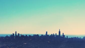 Sunrise cityscapes dawn chicago cities wallpaper