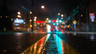 Urban new york city bokeh night streetscape wallpaper