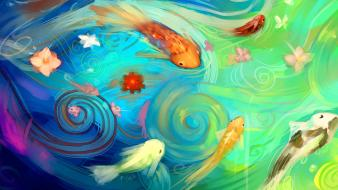 Water flowers fish artwork wallpaper