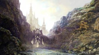 Water mountains castles fantasy art gate wallpaper