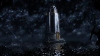 Water ocean stars lighthouses bioshock infinite reflections wallpaper