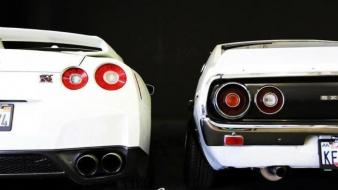 White luxury sport nissan gtr auto backview wallpaper