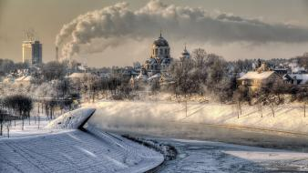 Winter snow cityscapes smoke chimney wallpaper