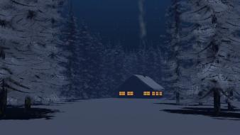 Winter snow trees night houses digital art artwork Wallpaper