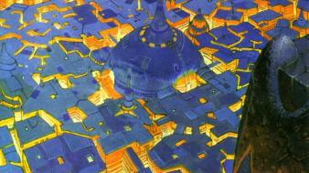 Artwork traditional art moebius cities french artist wallpaper