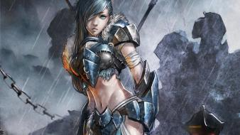 Blue eyes armor artwork warriors female chains wallpaper