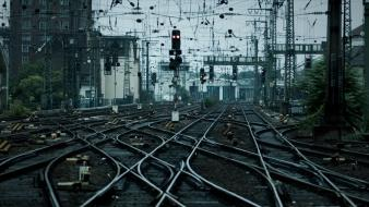 Cityscapes traffic lights power lines trainway tracks Wallpaper