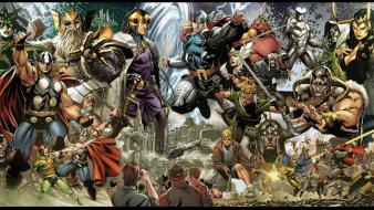 Comics thor marvel loki lithograph asgard wallpaper
