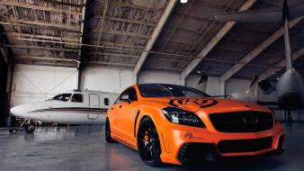 Orange tuning hangar races mercedes-benz mercedes benz cls wallpaper