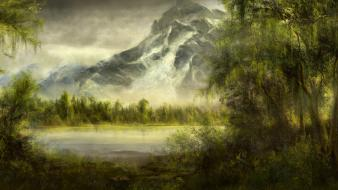 Paintings mountains landscapes nature forest ponds Wallpaper