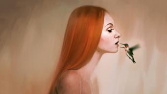 Redheads long hair artwork hummingbirds simple background wallpaper