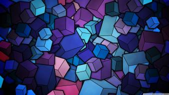 Abstract blue cubes artwork Wallpaper