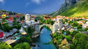 Buildings mostar rivers bosnia and herzegovina cities wallpaper