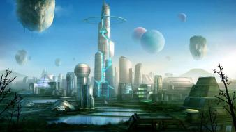 Castles futuristic fantasy art future cities wallpaper