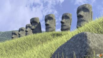 Cgi statues artwork easter island moai 3d Wallpaper