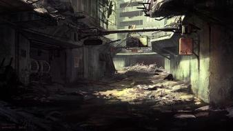 Cityscapes post-apocalyptic futuristic digital art science fiction artwork wallpaper