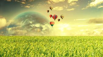 Clouds landscapes nature planets fields hot air balloons Wallpaper