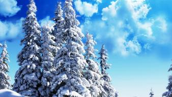 Clouds landscapes nature snow trees azure sky wallpaper