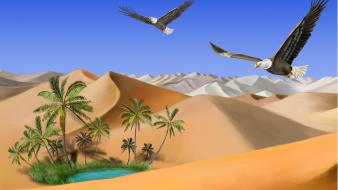Desert eagles digital art palm trees birds Wallpaper