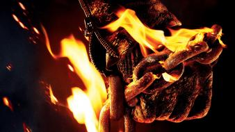 Flames ghost rider chains movie posters Wallpaper