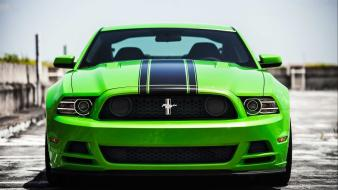 Green cars ford mustang black stripe muscle car wallpaper